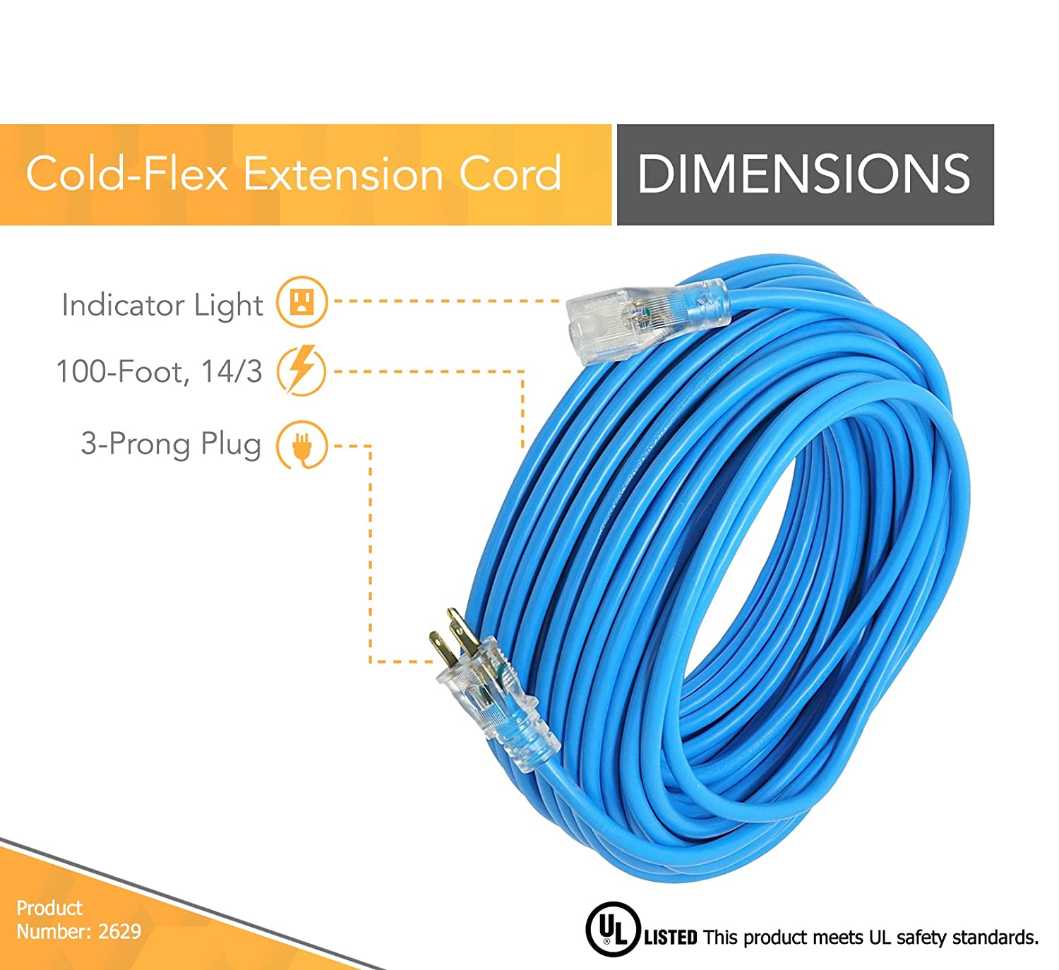 25 Feet, 14//3, Blue Coleman Cable 2627 Outdoor Extension Cord with Lighted Ends Made of Cold-Flex Weather-Proof Material
