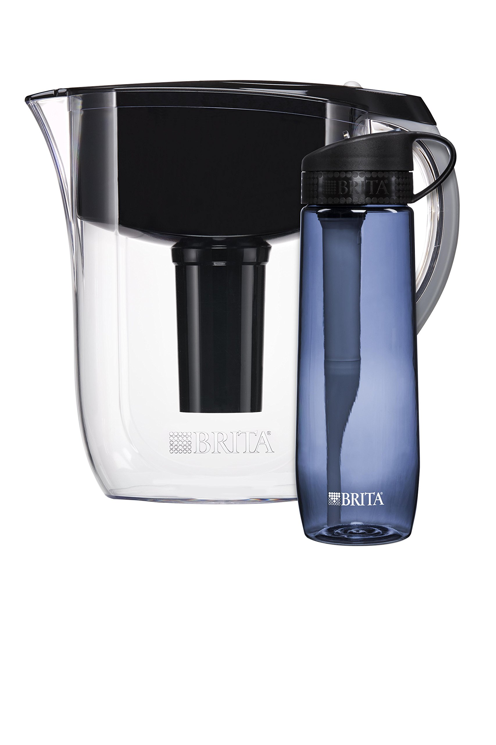 Brita 10 Cup Jet Black Grand Water Filter Pitcher with Grey Hard Sided Water Filter Bottle