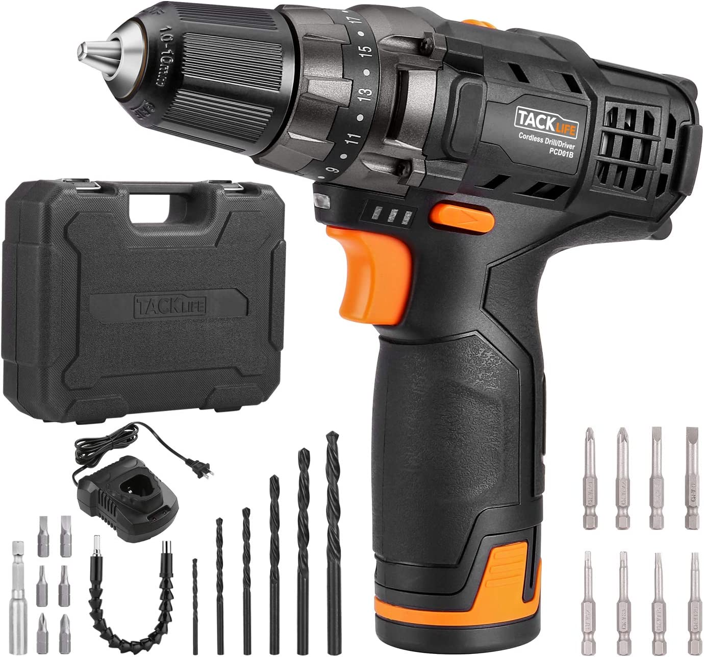 """TACKLIFE 12V Cordless Drill Driver,3/8"""" Metal Chuck,2 Speeds Compact Drill Set with 13pcs Accessories,2000mAh Lithium Battery Pack and 1Hour Fast Charger,PCD01B"""