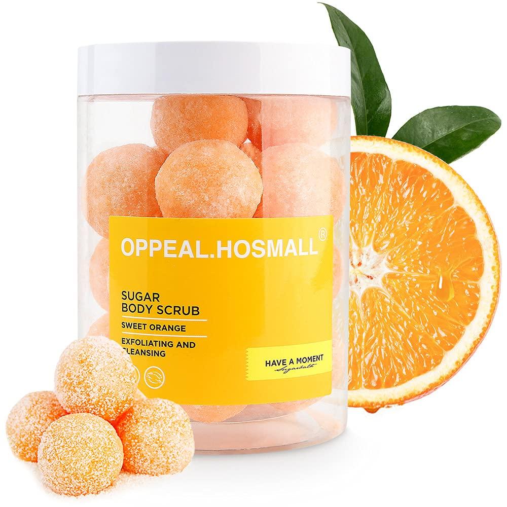OPPEAL Drawing Sugar Body Scrub | Cane Sugar Scrub, Moisturizing Mask, Cleaning Soap 3 in 1 | 20 Balls Per Tank, 14 Oz | Gifts for Women Men(Orange)