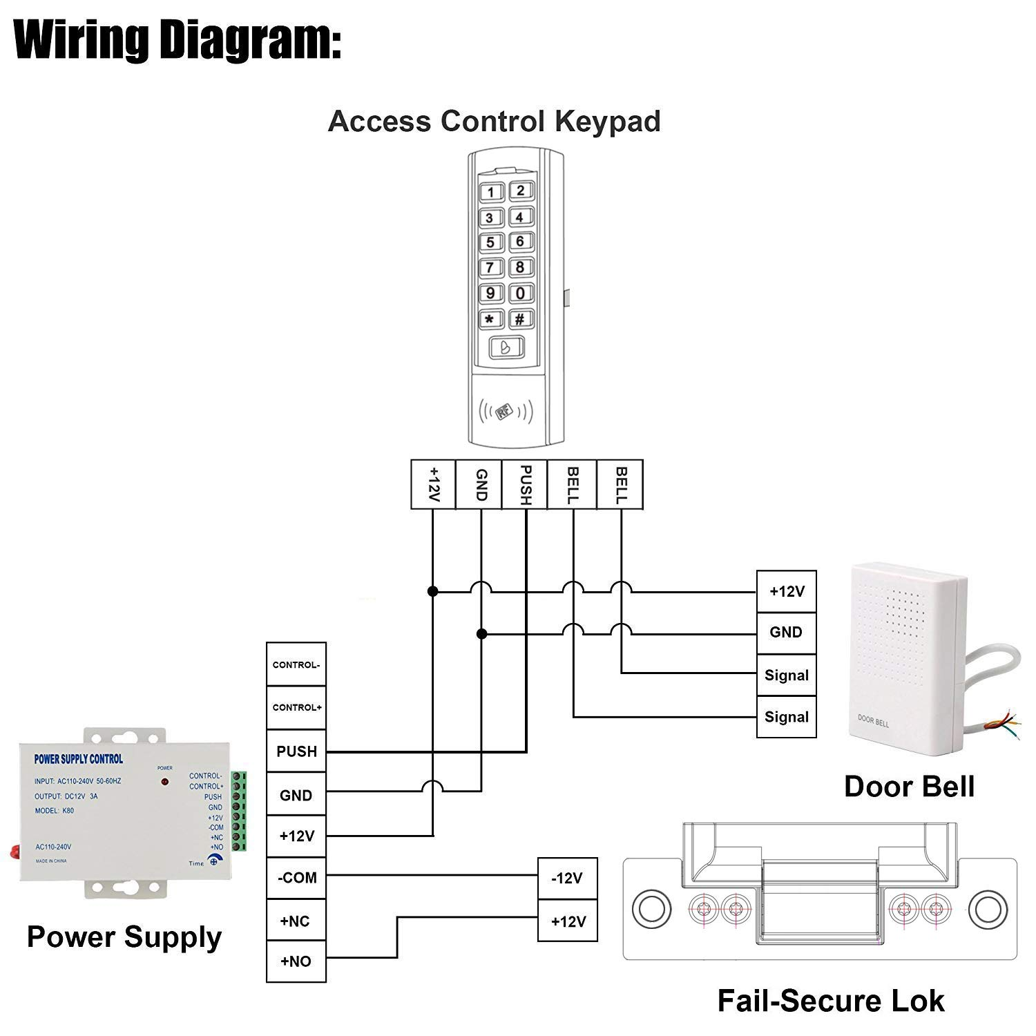 Uhppote Dc 12v Wired Doorbell Door Bell Chime For Home Wiring Chimes In Parallel Electronics