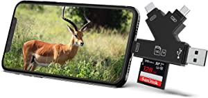 Campark 4 in 1 SD Card Reader Compatible with iPhone iPad Mac or Android, Trail Game Camera Memory Card Viewer to View Photos or Videos on Smartphone Computer