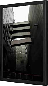 black and white modern buildings Wall Art with Pan Wood framed Ready to hang for home, bed room, office living room Home decor hand made Black color 33 x 43cm By LOWHA