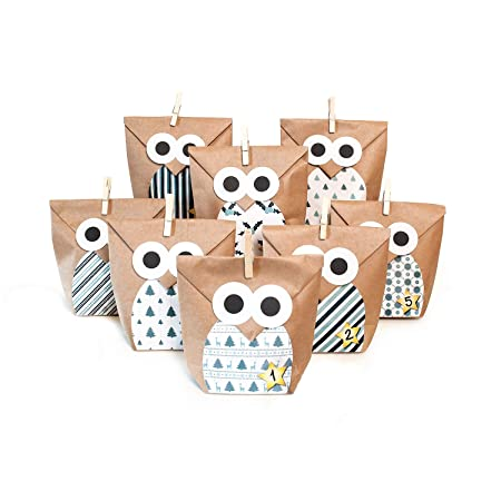 Diy Advent Calendar Craft Kit Christmas Owl Blue 1 X 24