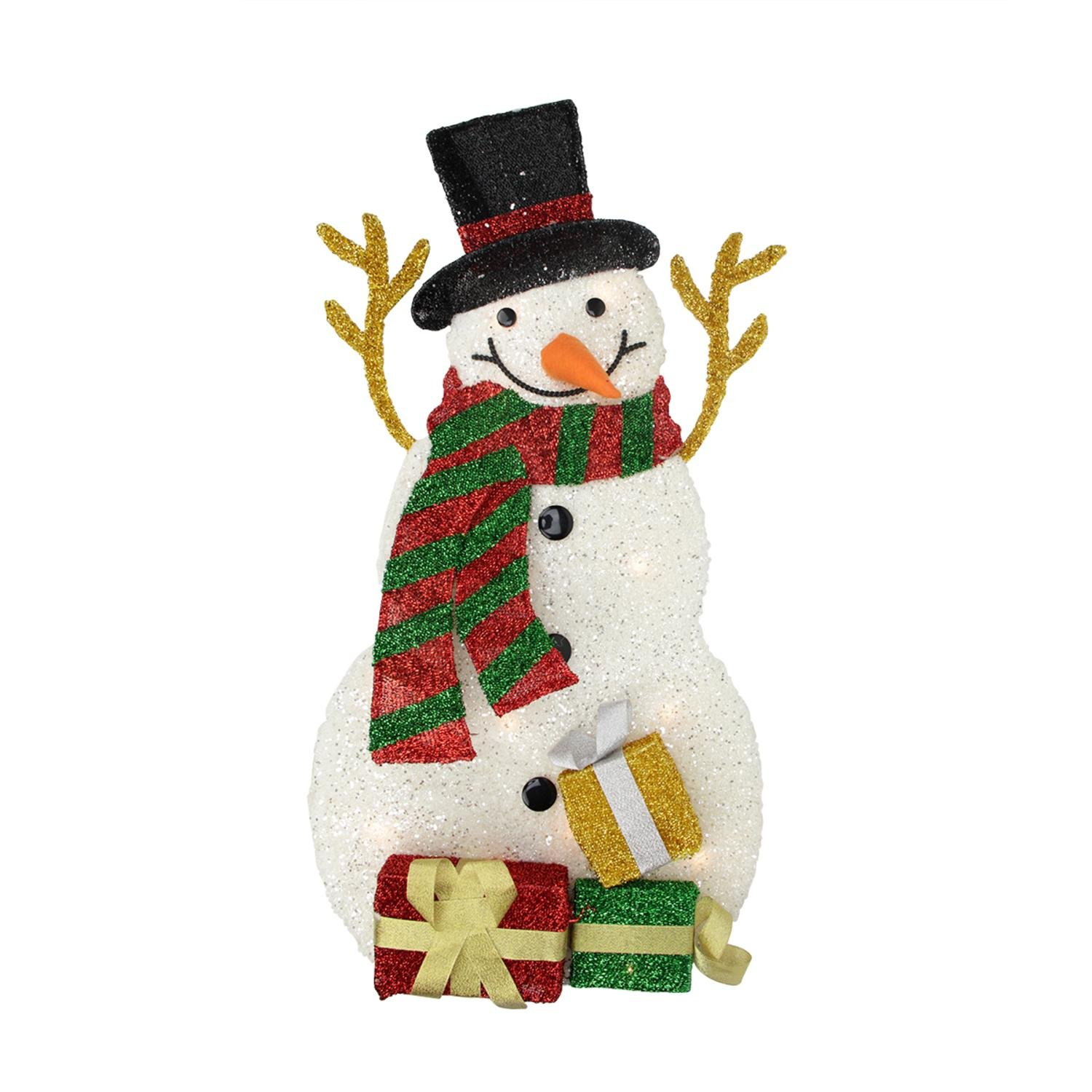 Northlight H85208 31.5'' Lighted Plush Tinsel Snowman with Gift Christmas Yard Art Decoration