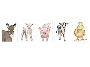 Nursery Baby Farm Animals Unframed Prints- Set of 5 (8