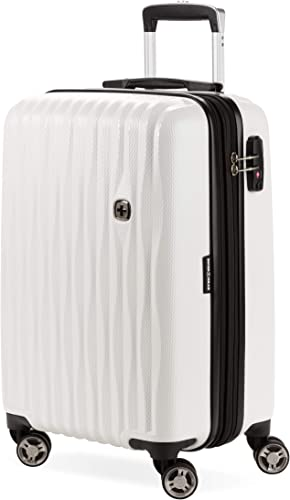 SWISSGEAR 7272 Energie Hardside Polycarbonate Spinner, Carry-On Luggage – White