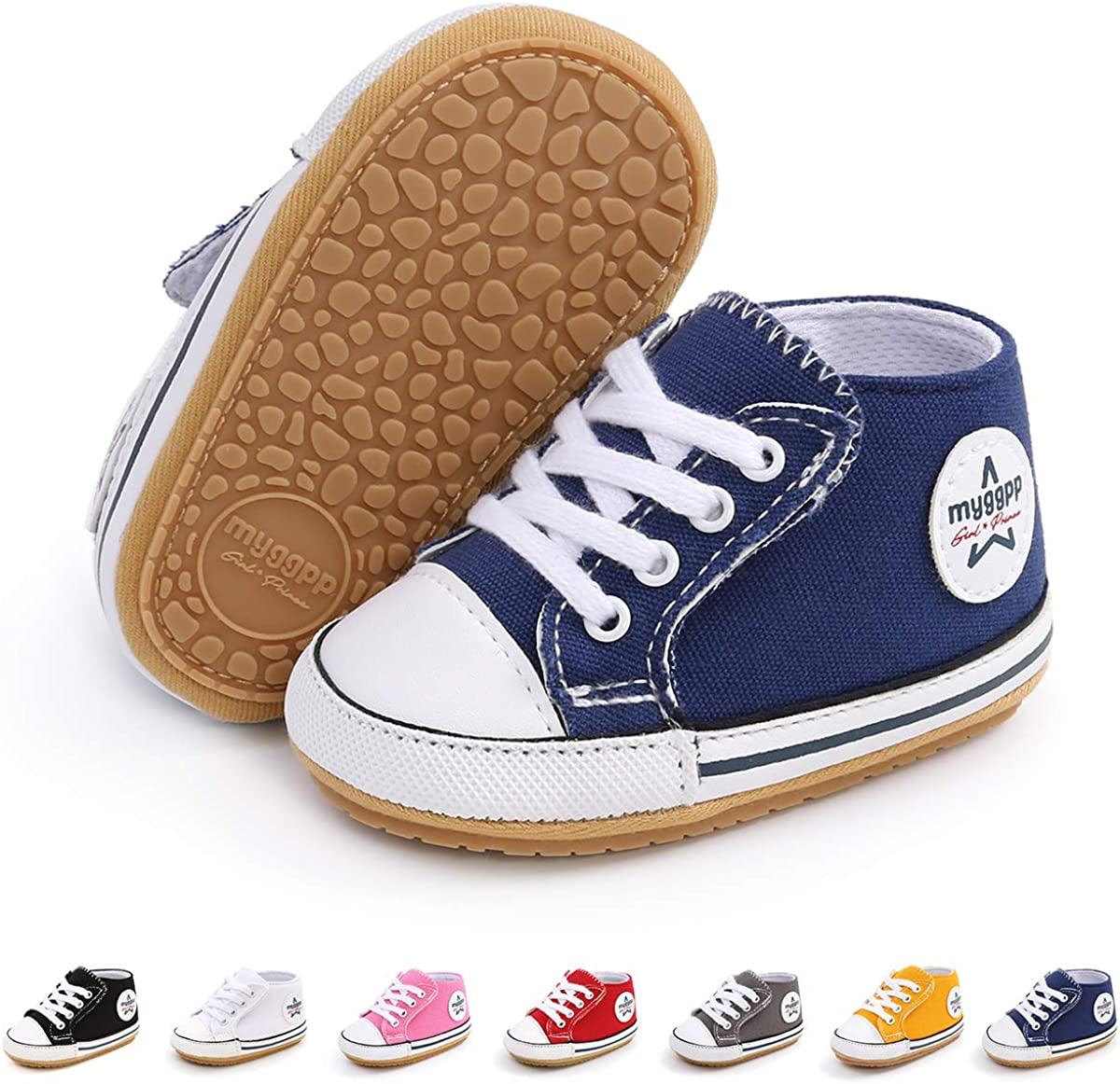 SABATUTU Unisex Baby Boys Girls Shoes Star High Top Ankle Toddler Sneaker Soft Anti-Slip Sole Newborn Infant First Walkers Canvas Denim Shoes