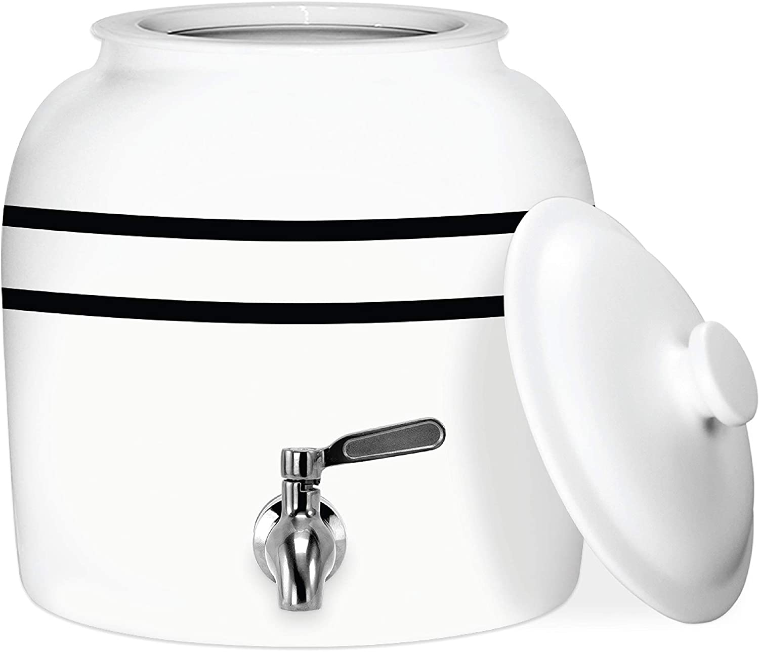 Geo Sports Porcelain Ceramic Crock Water Dispenser, Stainless Steel Faucet, Valve and Lid Included. Fits 3 to 5 Gallon Jugs. BPA & Lead Free (Black Stripe)