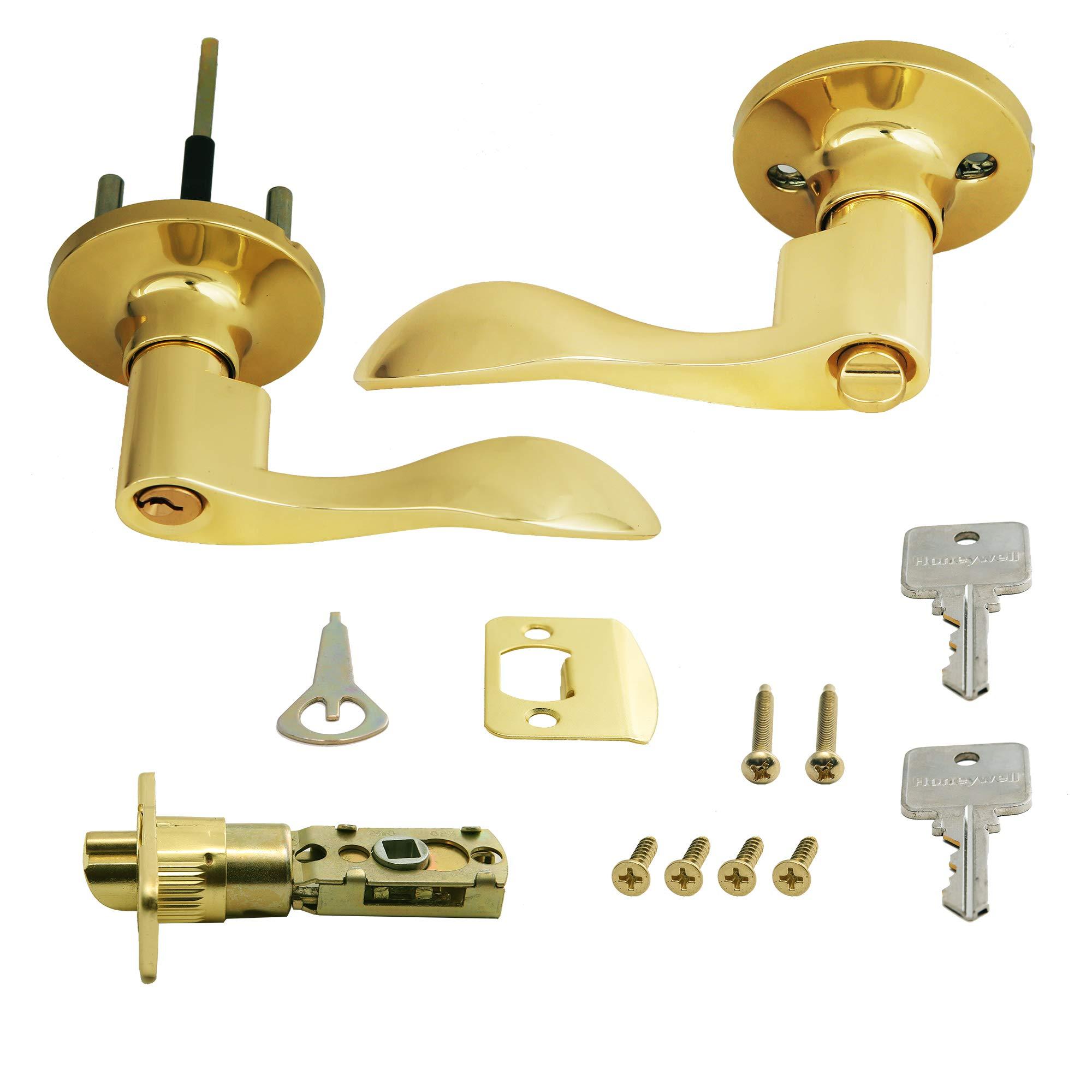 Honeywell Safes & Door Locks 8106001 Honeywell Locking Door Lever Polished Brass by Honeywell Safes & Door Locks (Image #2)