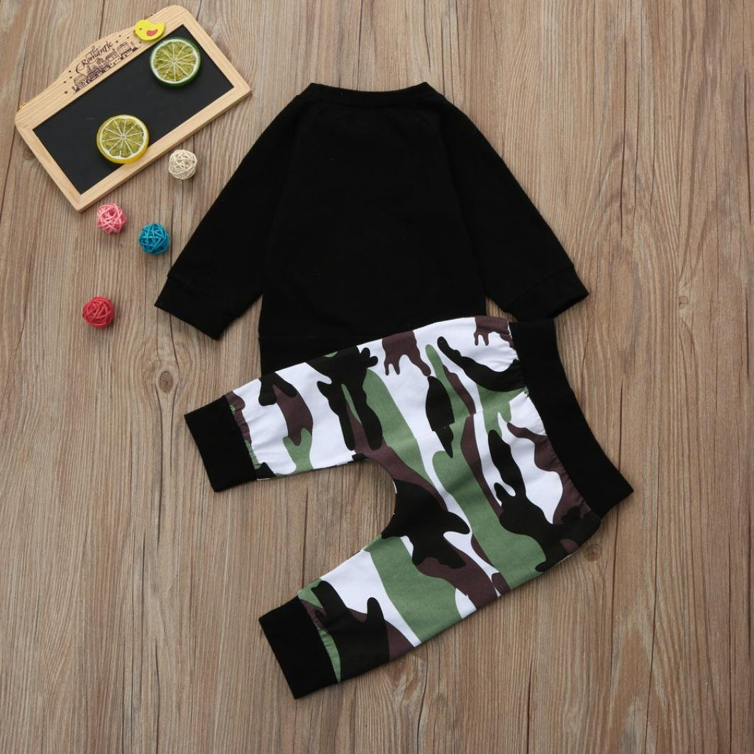 I Get My Charm From My Daddy Tops Camouflage Pants 2 Pcs Style Clothes Set Residen Baby Boys Camouflage Outfits