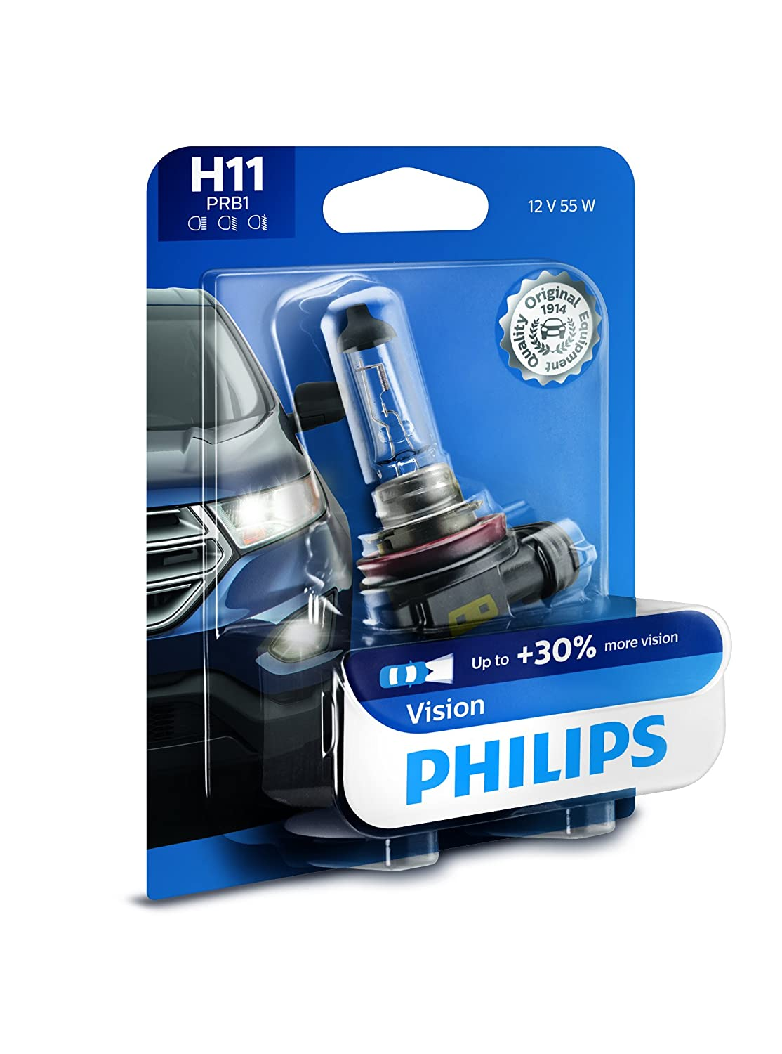 Philips 12362PRB1 H11 Upgrade Headlight Bulb with up to 30% More Vision, 1 Pack
