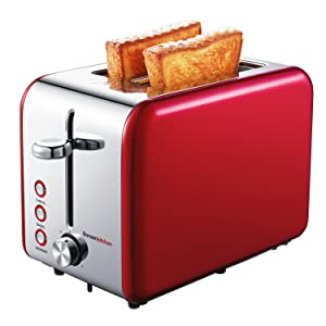 Bonsenkitchen 2-Slice Wide-Slot Toaster with Chrome Stainless Steel Housing, Defrost/Bagel/Cancel and Bread Jam Proof Function, 7 Browning Settings (Red)