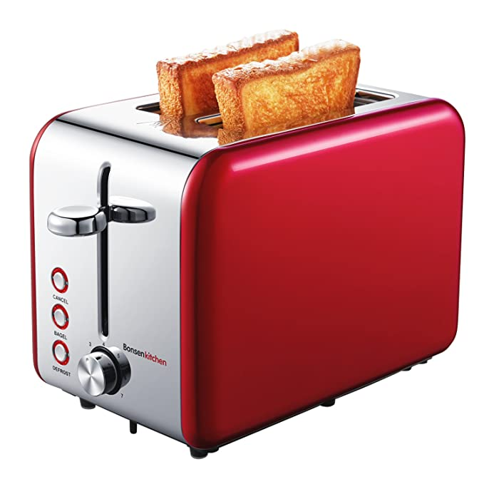Bonsenkitchen 2 Slice Red Toaster, Extra Wide Slot 5.5*1.4 for Bagel, 7 Browning Settings, Defrost/Bagel/Cancel Functions, Stainless Steel Bread ...