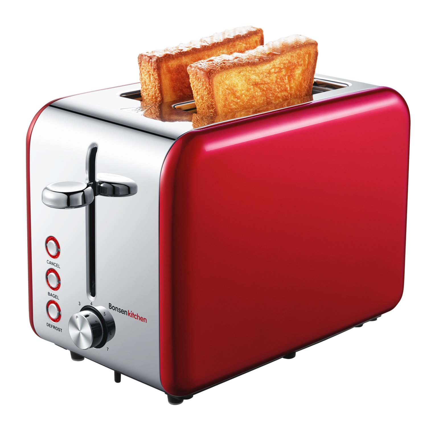 Bonsenkitchen 2-Slice Wide-Slot Toaster with Chrome Stainless Steel Housing, Defrost/Bagel/Cancel and Bread Jam Proof Function, 7 Browning Settings, Red (TR8741)