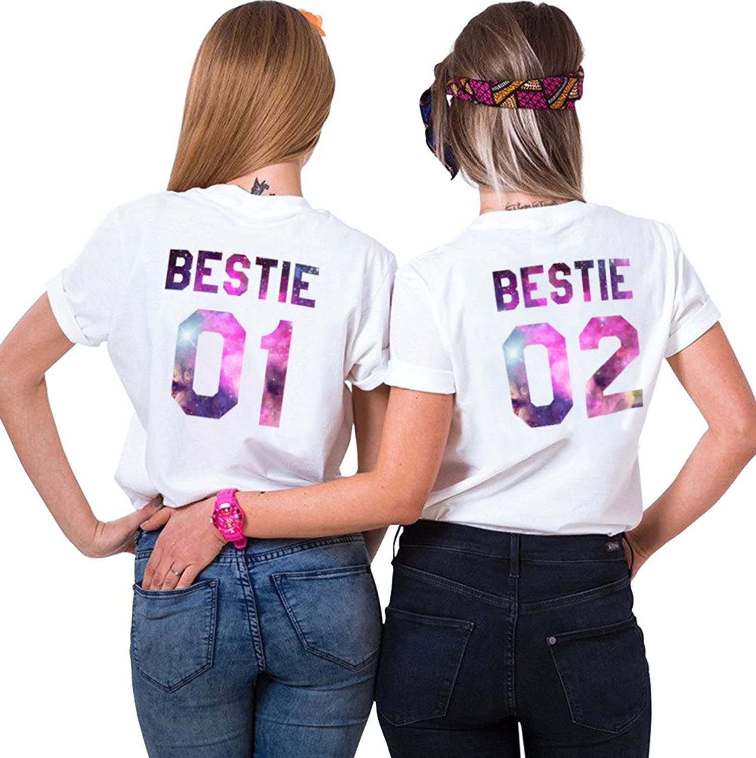 eeb83009b Two girls friends shirts for best friends,2 pack tshirts for women summer  tee. ????With great flexible and breathable and soft to wear.
