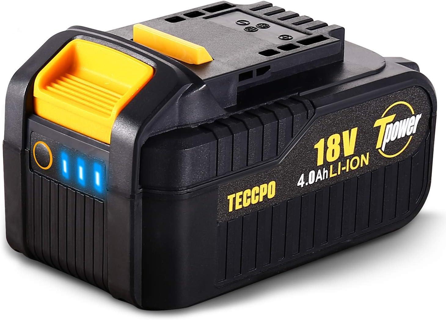 TDBP04P TECCPO Professional 18V 4.0Ah Batteria Ricaricabile al Litio Batteria di Ricambio per Tutti TECCPO/&POPOMAN Strumenti da 18V senza Fili