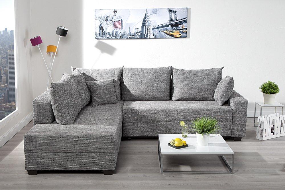 Design ecksofa  Design Ecksofa APARTMENT Strukturstoff grau Federkern Sofa ...