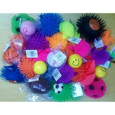 Stress Balls and Squeeze Toys Value Assortment (12 Pack) Stress Relax Toy Balls, Puffer Ball Assortment: Garden & Outdoor