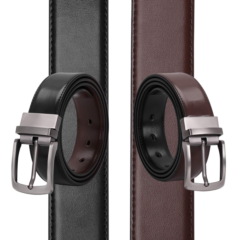 Men\'s Belt, Leather Reversible Belt for Men Black/Brown Dress Belt Rotate Buckle Gift Box