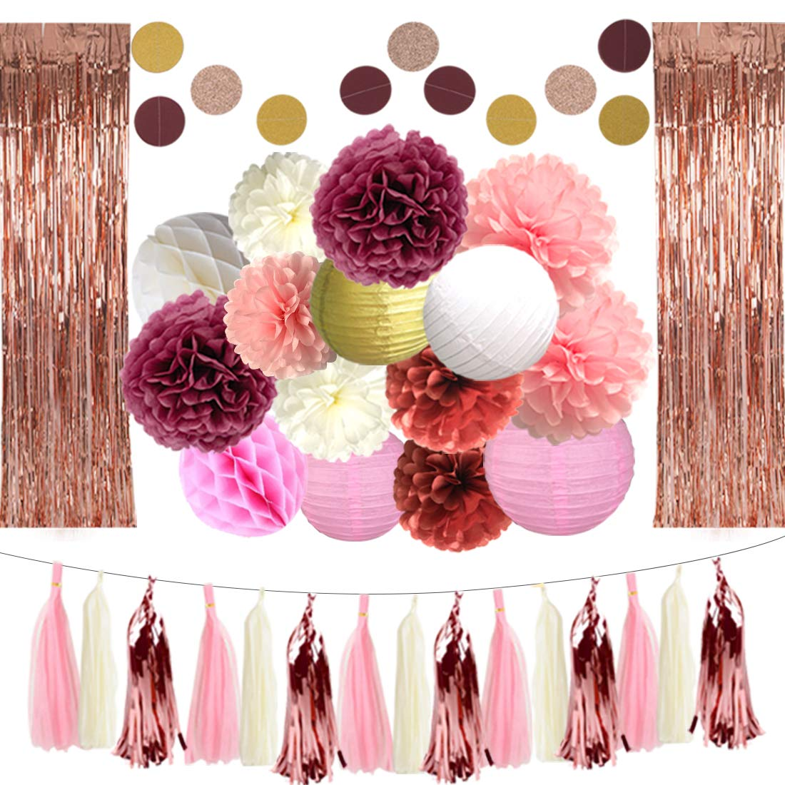 DXZN 33 PCS Rose Gold Party Decorations 2 Pack 8.2FT Long Foil Fringe Curtain Tissue Pom Poms Paper Lantern Paper Garland 9.8FT Long Tissue Tassel for Wedding Birthday Bridal Shower Valentine's Day