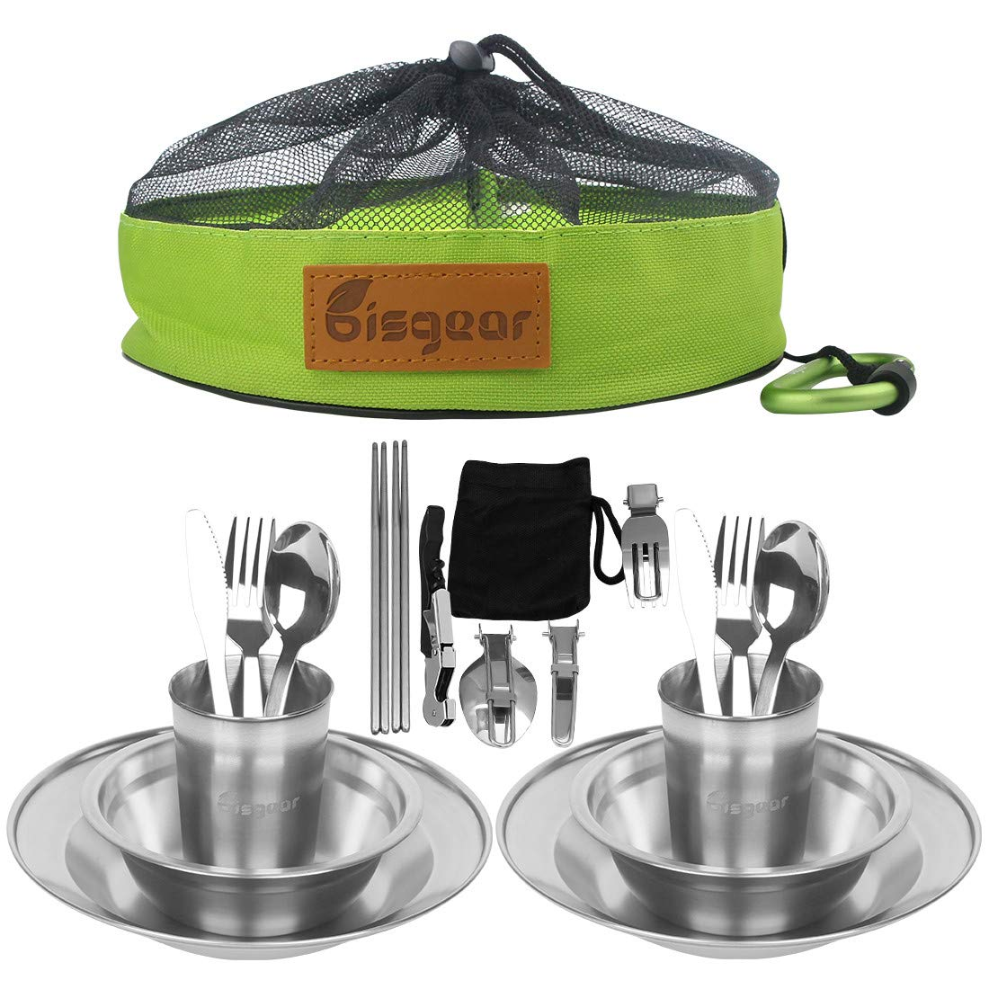 Bisgear 20pcs Stainless Steel Tableware Mess Kit Includes Plate Bowl Cup Spoon Fork Knife Chopsticks Carabiner Wine Opener Dishcloth & Mesh Travel Bag for Camping Backpacking & Hiking (20pcs) by Bisgear