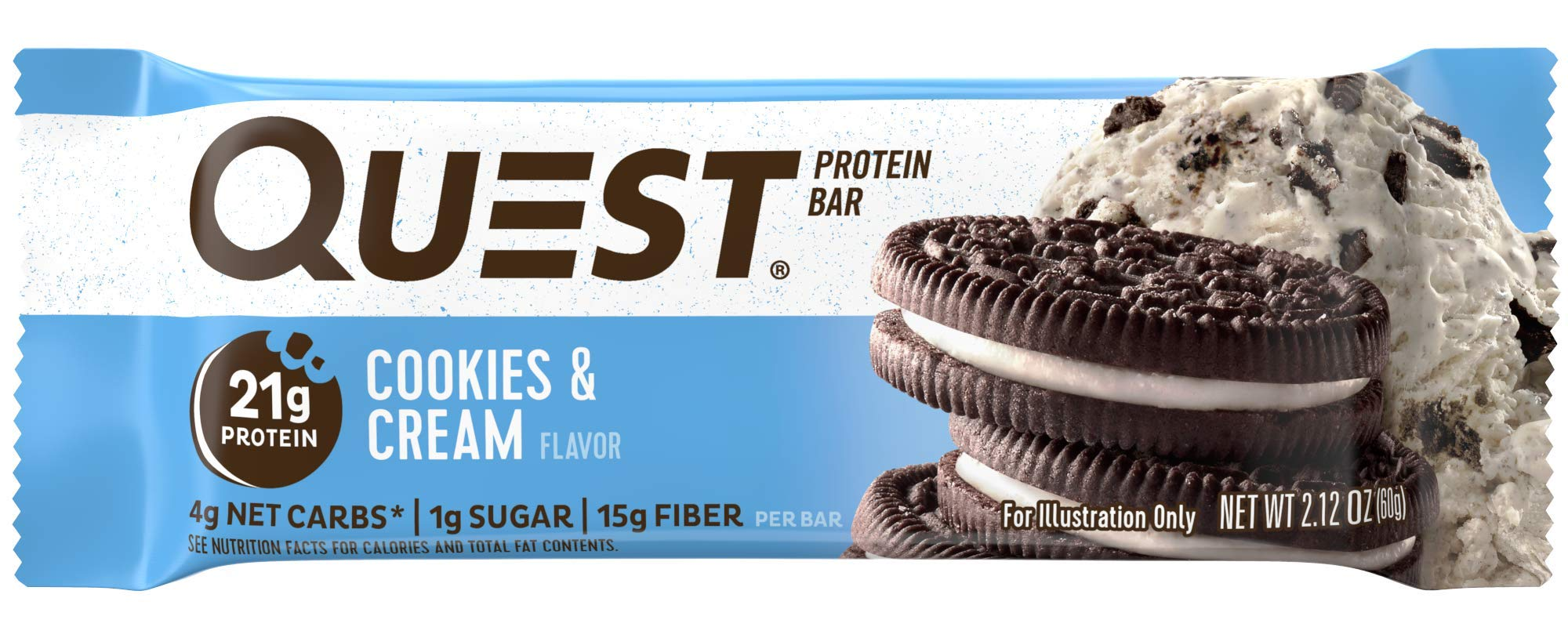 Quest Nutrition Cookies & Cream Protein Bar, High Protein, Low Carb, Gluten Free, Soy Free, Keto Friendly, 12 Count