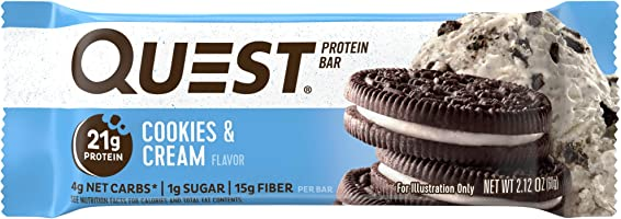 Quest Nutrition Protein Bar, Cookies & Cream, 21g Protein, 4g Net Carbs, 200 Cals, High Protein Bars, Low Carb Bars,...
