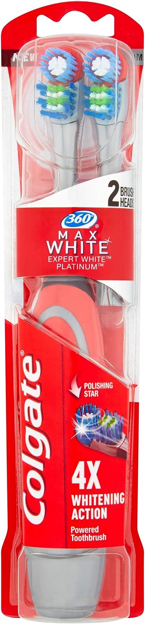 Colgate 360° Max White Expert Whitening Battery Powered Toothbrush Heads, Pack of 2