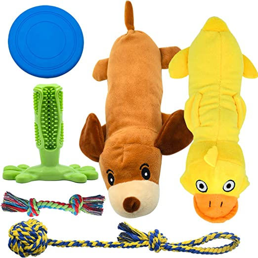 Set Of Dog Stuffed Animals, Pet Supplies Stuffed Animals Squeaky Dog Toys For Small Dogs Dog Rope Toy Set Dog Toothbrush Puppy Chew Toy For Chewing Cleaning Teeth Interactive Dog Frisbee Disc Toys Cute Assorted