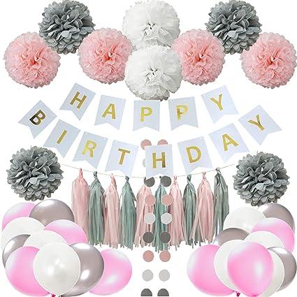 15x mix peach white paper pom poms birthday wedding party baby shower decoration