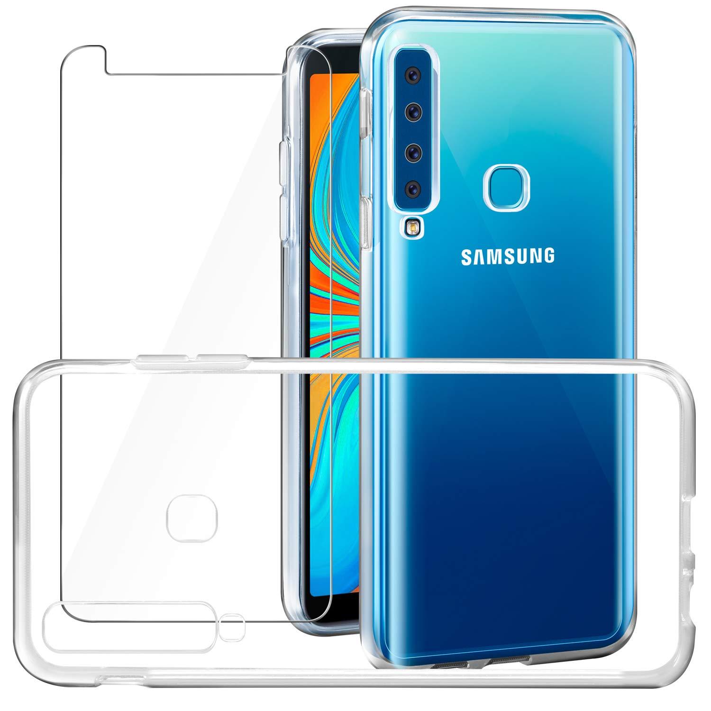 6.3 2018 Cover Galaxy A9 2018 Custodia Pellicola Protettiva in Vetro Temperato Leathlux Morbido Trasparente Silicone Custodie Protettivo TPU Gel Sottile Cover per Samsung Galaxy A9