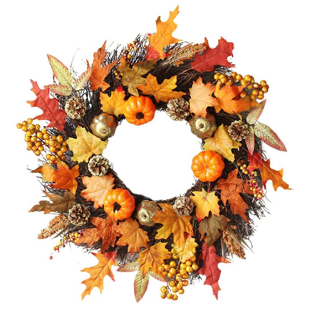 Halloween Kacowpper 45cm Rattan Berry Maple Leaf Fall Door Wreath Door Wall Ornament Halloween