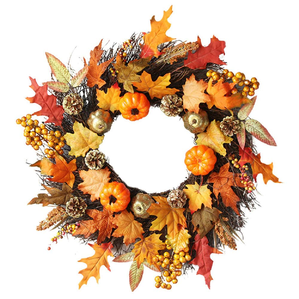 Dowager 23.6inch Simulation Pumpkin for Wreath Front Door, Garland Rattan Berry Maple Leaf Fall Door Wreath Wall Window Spooky Halloween Home Decor Ornaments Christmas Thanksgiving Hanging Decoration by Dowager_Home Decor