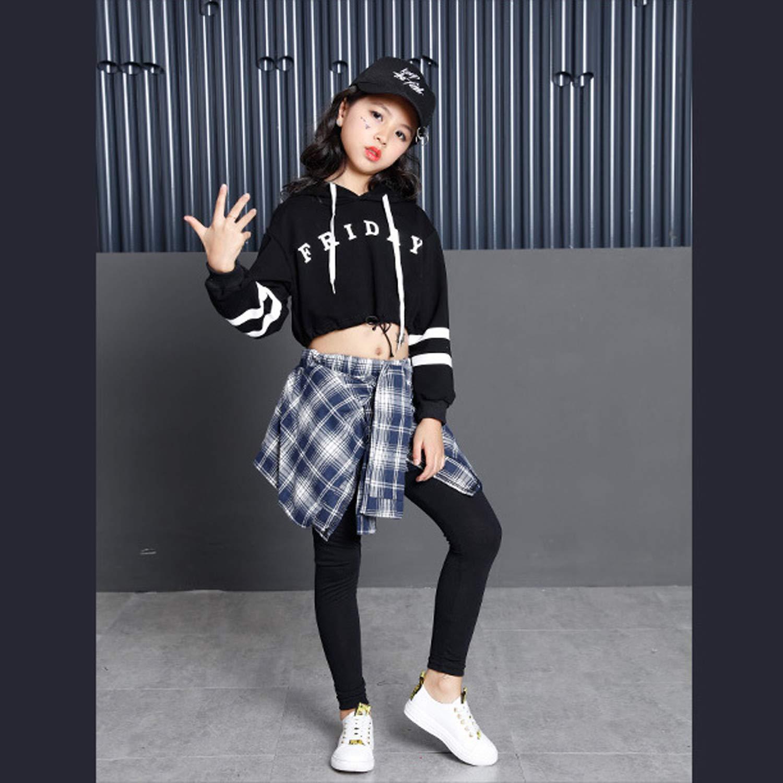 LOLANTA Big Girls Hip Hop Jazz Dancewear Conjunto de Ropa Casual Sudadera con Capucha Impresa Leggings de Falda Atados