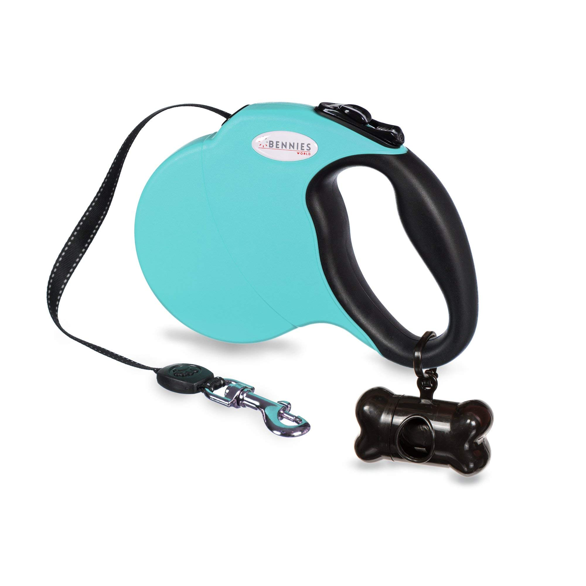Bennies World 16 ft Retractable Dog Walking Leash for Large Medium Small Dogs up to 110lbs, Reflective Ribbon, Break & Lock Button, Waste Dispenser and Bags