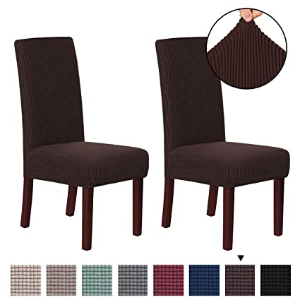 H Versailtex 2 Pack Spandex Fit Stretch Armless Chair Slip Covers For Dining Room Kitchen Slipcovers Soft Jacquard Home Decor Brown
