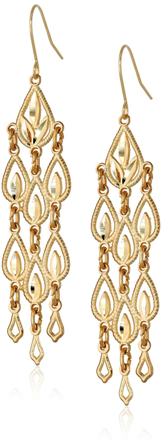 14k Yellow Gold Diamond-Cut Chandelier Drop Earrings, 1.95''