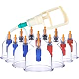 Coppettazione Cinese Cupping Terapia di DigHealth, 12 Coppette Sottovuoto con Pompa, Massaggio Trattamenti Medicina Tradizionale per Anticellulite, Viso, Cervicale, Mal di Schiena