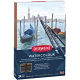 Derwent Coloured Pencils, Watercolour, Water Colour Pencils, Drawing, Art, Gift Set Wooden Box, 24 Count (2300152)