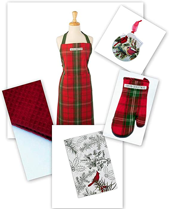 Christmas Apron Dish Towels Oven Mitt Susan Winget Metal Ornament Set of 5 Vintage Red Tartan Lynn's Herb Garden