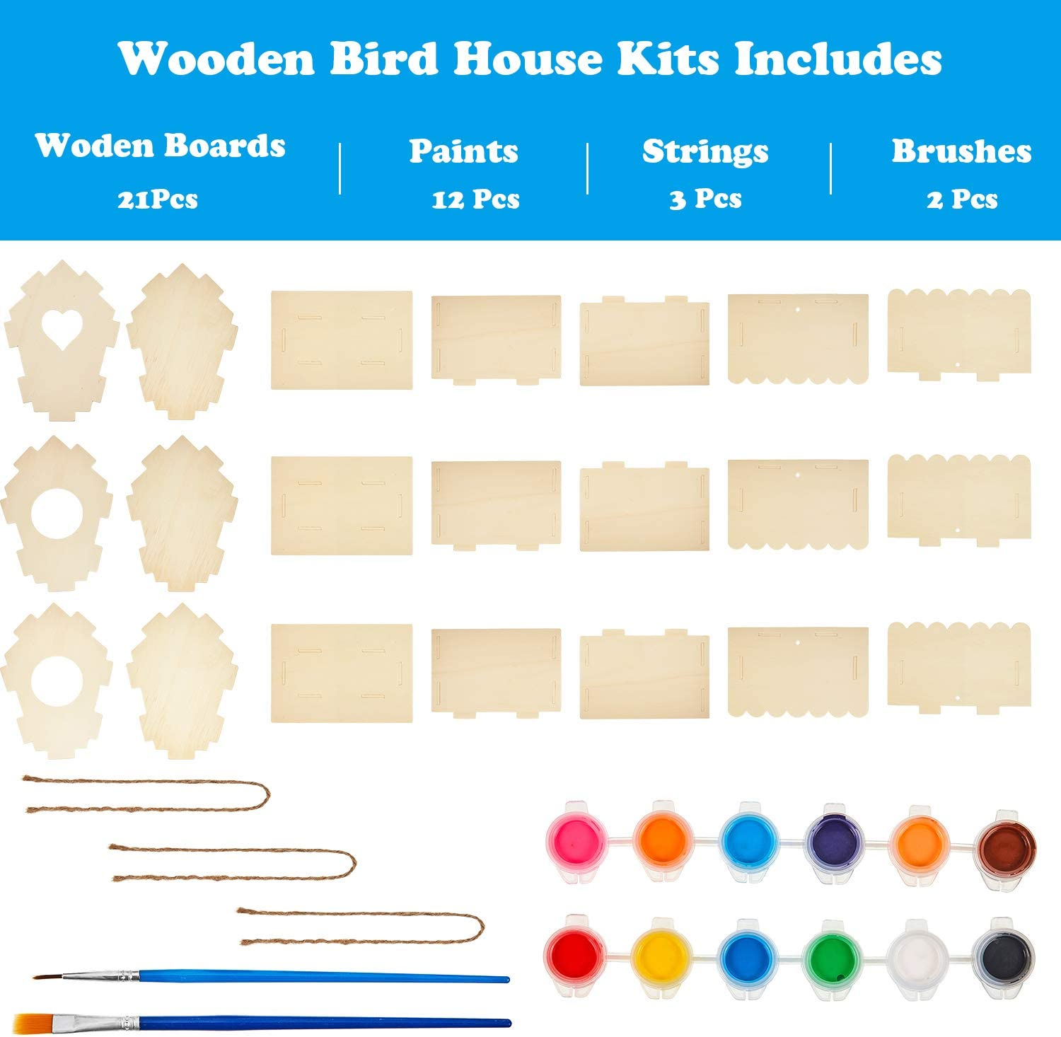 3 Pieces Wooden Bird House Kits Build and Paint Birdhouse Unfinished Hanging Craft Bird Houses with 12 Pieces Paints and 2 Pieces Brushes for DIY Educational Craft Art