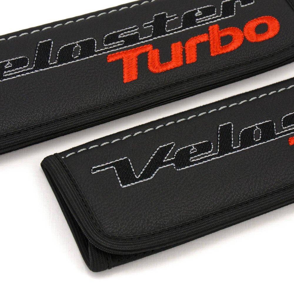 Hyundai Veloster negro almohadillas de piel Para Cinturón de Asiento de coche cubre correa de asiento de coche cubre correa acolchada Covers con bordado ...