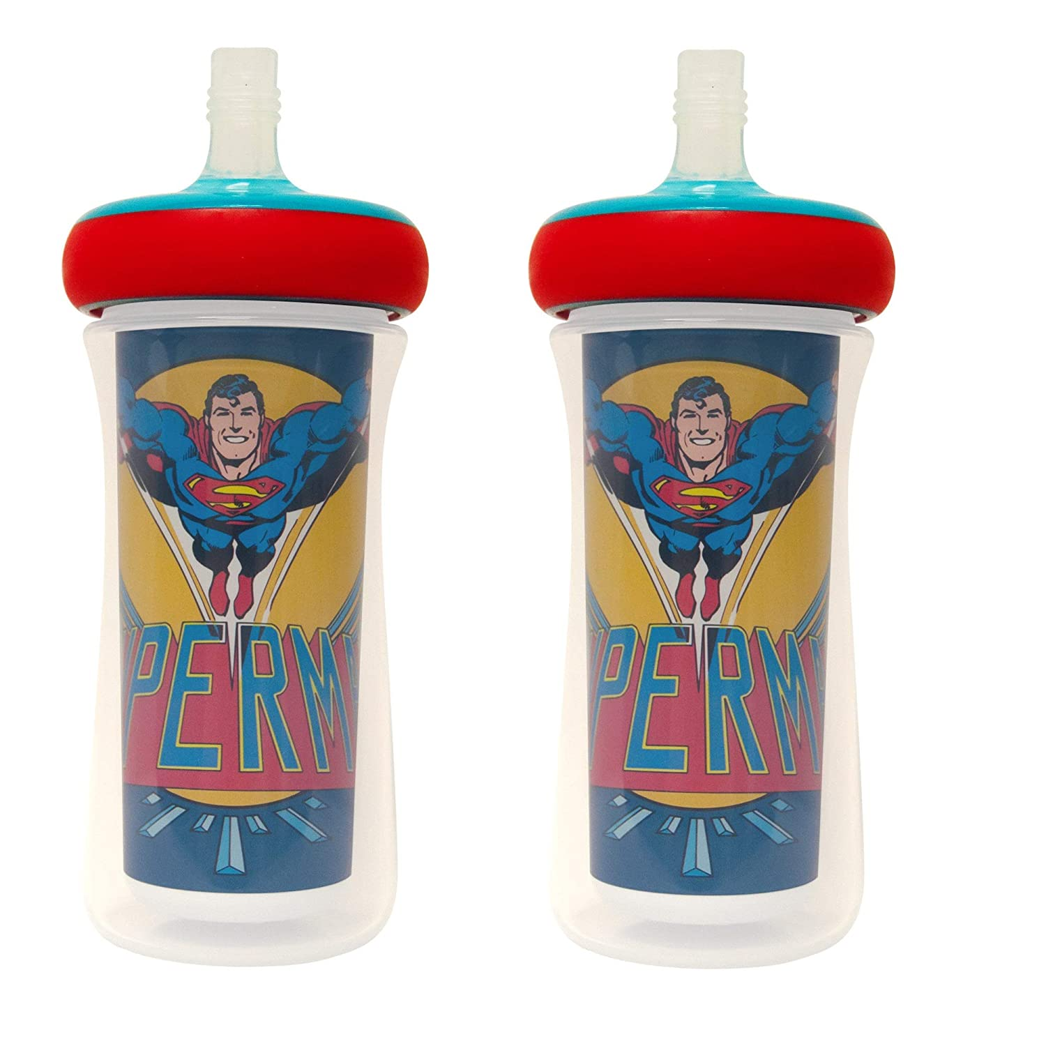 The First Years DC Superman Insulated Straw Cup 9 Oz 2 Pack, Multi, Y11388CA1