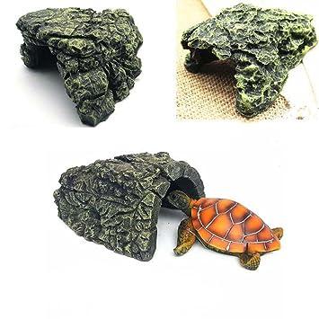 AUOKER Reptil Rock Hide Cave, Resina Reptile Hide Habitat Basking ...