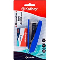 Kathay 86000199. Grapadora Mini con 1000 Grapas nº 10, 9,5cm, Hasta 12 Hojas, Colores Aleatorios: Negro o Azul.