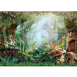 Allenjoy 7X5ft Spring Cartoon Fairy Tale Mushroom Enchanted Forest Wonderland Photography Backdrop Children Kids Fancy Birthday Party Decor Newborn Baby Shower Fantasy Backgrounds Studio Photo Booth
