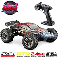 Hosim RC Car 1:16 Scale Electric Remote Control Monster Truck 9136, All Terrain 4WD High Speed Racing Vehicle 38km/h Off-Road Waterproof/Shockproof/Anti-Skid 2.4G Radio Controlled RTR Hobby Car Buggy for Kids and Adults Gifts (Red) - Built-in New Plug Battery