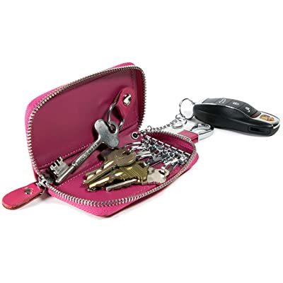 Car Home Key Organizer Pouch, CoreLife Zippered Multi Key Holder Vegan Leather Wallet Case Key Chain for Women - Hot Pink: Office Products