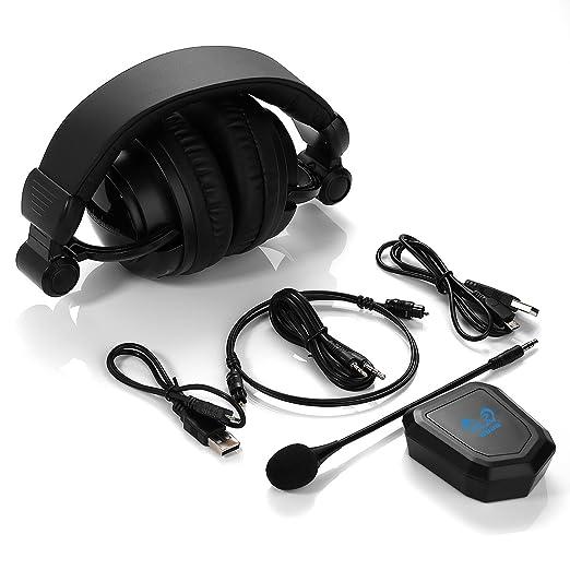 Winkona - Auriculares inalámbricos ópticos para videojuegos compatibles con PS4 PS3 Xbox One PC Ordenador USB Virtual 7.1 Auriculares con micrófono ...
